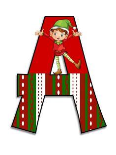 Litere cu elfi - Logorici Monogram Alphabet, Alphabet And Numbers, Christmas Clipart, Christmas Crafts, Christmas Letters, Christmas Ideas, Alice In Wonderland Party, Christmas Scrapbook, Disney Crafts