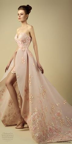 fadwa baalbaki spring 2017 couture strapless a line high low pink gown (6) mv train -- Fadwa Baalbaki Spring 2017 Couture Dresses