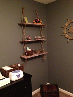 Rope/timber shelving