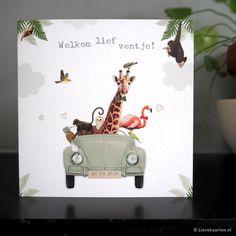 Stoer geboortekaartje met jungle dieren, dit kaartje is gedrukt op Oud hollands papier. | Lievekaarten.nl | #geboortekaartje #geboortekaartjes #zwanger
