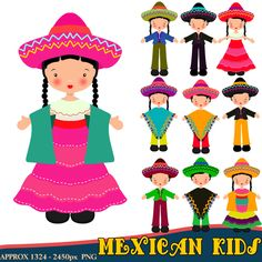 Mexican Clipart, Children Clipart, Fiesta Clipart, Mexican Dress, Instant Download, Mexican Hats by DigitalPaperCraft on Etsy https://www.etsy.com/listing/231415688/mexican-clipart-children-clipart-fiesta