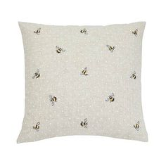Embroidered Bees Natural Cushion | Dunelm Uni Bedroom, Natural Cushions, Bee Design, Winter Colors, New Homes, Lounge, Colours, Throw Pillows, Living Room