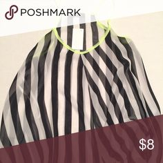 ✨20% Off 2+✨Black White Stripe Tank NWT   EXCELLENT CONDITION: Sheer tank. *not listed brand from Deb. Nasty Gal Tops Tank Tops