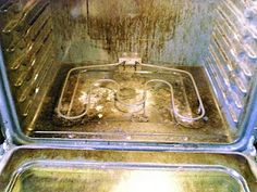 clean your oven with 5 Tblsp baking soda, 5 drops of Dawn, 4 Tblsp vinegar