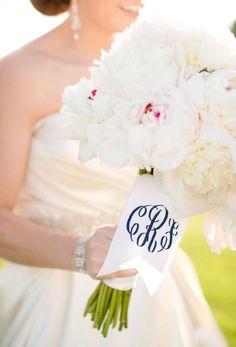 monogram bouquet ribbons | Oatmeal Lace Design