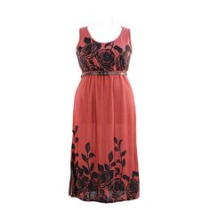 Dress for Less Plus Size Print Maxi Surplice Dress./Free Returns ($28) ❤ liked on Polyvore featuring dresses, red dress, plus size dresses, maxi dress, womens plus dresses and print dresses