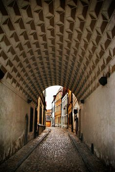 Tunnel in the city of Tabor, Czech Republic.  Love the textured arch ceiling!