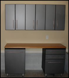 Garage Cabinets with Bamboo Workbench Top