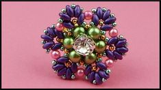 DIY | Blumen Perlenring fädeln | Beaded flower twin beads ring with rhin...