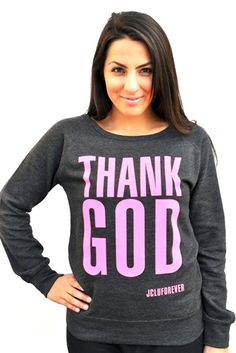 Thank God. A simple statement top to give thanks to our Lord and Savior.Neon Pink Print on a Charcoal Heather Sweatshirt. #thankgod