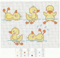 Duckling cross stitch baby bathrobe