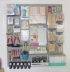 Use binder clips to hang things from longer pegs on a pegboard -- you don't have to remove all the items in front to get the one you want!