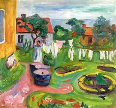 Edvard Munch ~ Clothes On A Line In Åsgårdstrand, 1902.   Hey, he painted more than just the one! I bet he'd be as tired as we are of that scream.