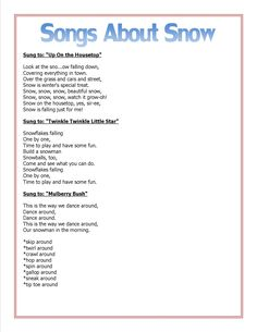 Songs for elementary students about winter and snow