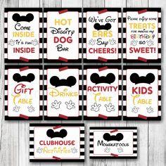 Mickey Mouse Birthday Table Signs Elegant Black by Birthday Table, Birthday Parties, Mickey Printables, Inside Bar, Table Signs, Kid Table, Mickey Mouse Birthday, Dog Gifts, First Birthdays