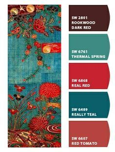 Color - colour palette - Paint colors from Chip It! by Sherwin-Williams. Love the real teal for living room wall along with the red for accent colors and kitchen wall colors. Colour Pallette, Colour Schemes, Color Combos, Turquoise Color Schemes, Color Palate, Living Room Red, Living Room Paint, Deco Rose, Kitchen Wall Colors
