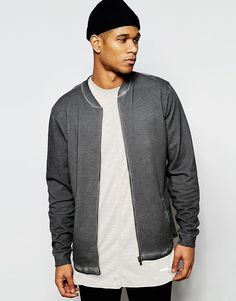 ASOS+Jersey+Bomber+Jacket+With+Oil+Wash+In+Grey