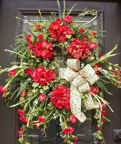 Spring Wreath, Hydrangea Wreath, Door Wreaths, Summer Wreath Etsy, Morning Glory Burlap Wreath