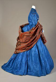 American silk dress worn with paisley shawl, ca. 1865.  | Kent State University Museum