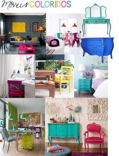 Móveis multicoloridos! É disso que eu gosto! #Cores #móveis #decoracao #decor