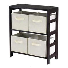 Capri 2-Section M Storage Shelf with 4 Foldable Beige Fabric Baskets