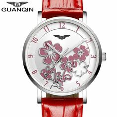 US $95.00 - relogio feminino Watches Women Flower Design Dial Quartz Watch Ladies Luxury Red Leather Wristwatch montre femme