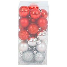 25ct Red Silver Round Christmas Mini Christmas Ornament Set - Wondershop™