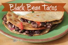 Black Bean Tacos #Vegetarian #recipe  2 cans of black beans, drained and rinsed ½ cup red onion, chopped 1 tsp. cumin 1 tsp. paprika ¼ to ½ cup fresh cilantro, chopped 1 large tomato, diced Coarsely ground sea salt and fresh ground pepper to taste 2 Tbsp. olive oil 1 cup monterey jack cheese, grated 12 corn tortillas