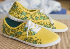 yellow hand painted sneakers