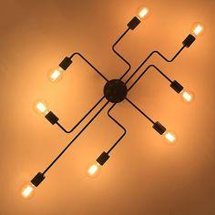 Industrial Creative Black Metal Semi Flush Mount & Exposed Globe Bulb - Semi Flush Mount - Ceiling Lights - Lighting