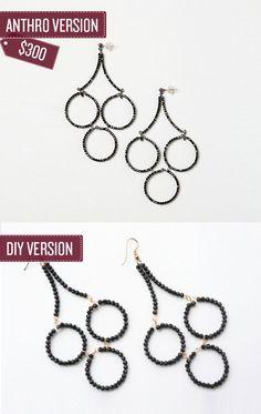 Craft a pair of beaded chandelier earrings. | 38 Anthropologie Hacks