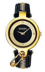"Versus by Versace Women's SOB060014 ""Key Biscayne"" Gold Ion-Plated Watch with Black Leather Band"