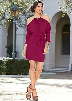 Cold Shoulder Draped Dress $32                                      Peep Toe Ankle Heels $39