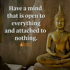 Have a mind that is open to everything and attached to nothing