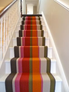 """Crucial Trading """"Audrey Sunrise"""" paint stairs grey of the light grey Staircase Landing, Staircase Runner, Stair Runners, Striped Carpets, Carpet Fitting, Entryway Stairs, Modern Farmhouse Interiors, Painted Stairs, Ivy House"""