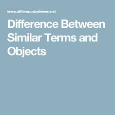 Difference Between Similar Terms and Objects