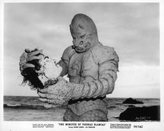 """""""The Monster of Piedras Blancas"""" 1959. They pretty much stayed with the Gill Man body, but went for a sort of melty-head look."""
