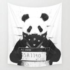 Bad panda Wall Tapestry by Balazs Solti