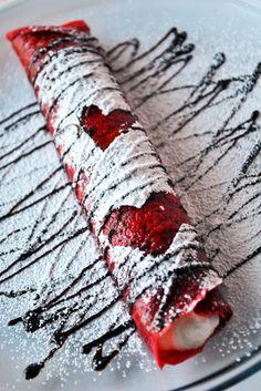 Red Velvet Crepes #crepes #red #heart #dessert #sweet #snack #valentine