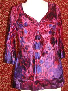 NWT LIVE AND LET LIVE red artsy stretch velvet long sleeve blouse PM (T43-02B6) #LIVEANDLETLIVE #Blouse #Anytime