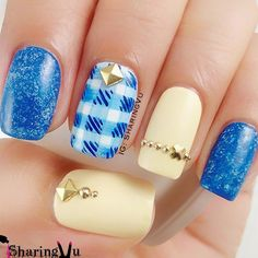 The Alluring Aqua Jeweled Nail Art. This nail art is perfect for your denim days.