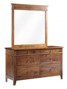 Amish Tucson Low Dresser with Optional Mirror Wood dressers like the Tucson are a dream. Custom made in choice of wood and stain. Option to add soft close drawers, cedar drawer bottoms and matching mirror. #bedroomdresser #dresser #dresserandmirror
