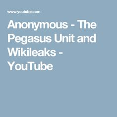 Anonymous - The Pegasus Unit and Wikileaks - YouTube