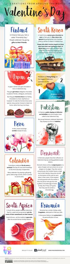 Valentine's Day Celebrations Around The World #ValentinesDay #infographic #culture
