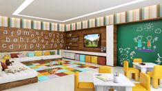 A good office interior design will make you feel comfortable to do your daily job. Today an office interior design is important too as same as a home interior. Daycare Design, Classroom Design, Classroom Decor, Kindergarten Interior, Kindergarten Design, Daycare Rooms, Home Daycare, Kids Cafe, Playground Design