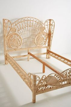 40 Modern Bed Frame Design Ideas Made Of Rattan - JustHomeIdeas Cane Furniture, Rattan Furniture, Unique Furniture, Furniture Design, Furniture Stores, Furniture Online, Cheap Furniture, Luxury Furniture, Office Furniture