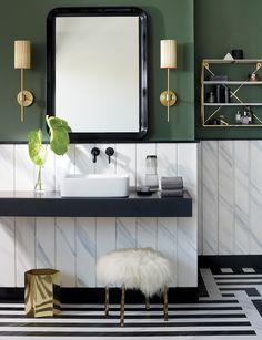Amazing DIY Bathroom Ideas, Bathroom Decor, Bathroom Remodel and Bathroom Projects to help inspire your bathroom dreams and goals. Green Bathroom Colors, Green Wall Color, Green Bathroom Decor, Eclectic Bathroom, Bathroom Kids, Bathroom Interior, Master Bathrooms, Green Bathrooms, Green Walls