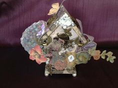 The Butterfly House- A Mixed-Media, Altered, Vintage Style Birdhouse