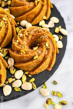 Pistachio Orange Caramel Mini Bundt Cakes