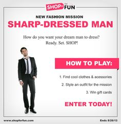 How do you want your dream man to dress? Put an #outfit together & you could win a gift card! #fashion #contest